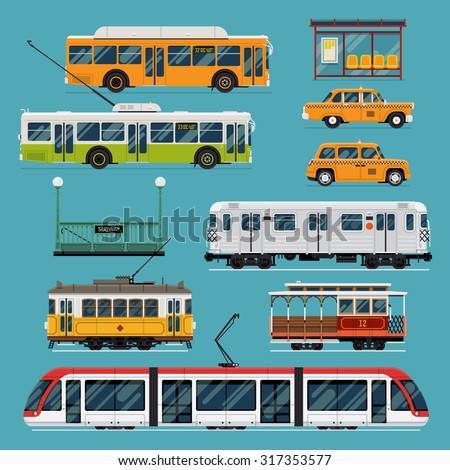 Large set of vector mass rapid transit urban vehicles | Collection of municipal transport buses, taxis, subway, tram cars in flat design. Ideal for infographic brochures, web and motion design - stock vector