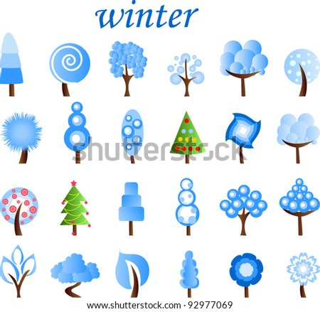 Large set of winter trees, the vector - stock vector