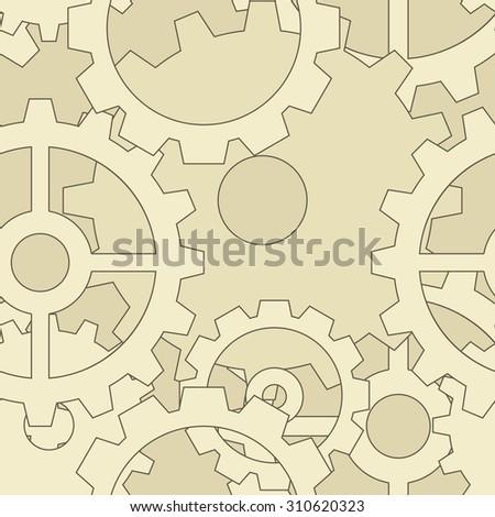 Large steampunk gear seamless pattern - stock vector