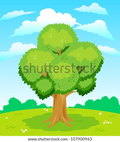 Large tree - stock vector