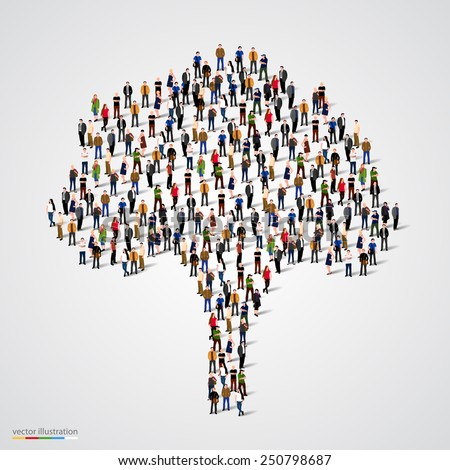 Large tree formed out of people. Vector illustration - stock vector
