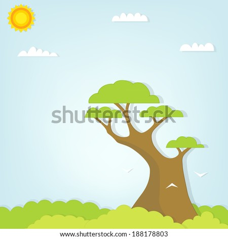 large tree towering over the forest - stock vector