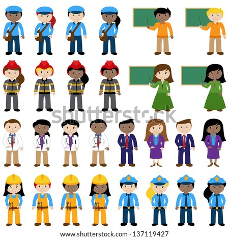 Large Vector Collection of Career and Professional People - stock vector