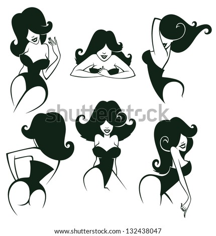 large vector collection of cartoon pin up girls in different poses - stock vector