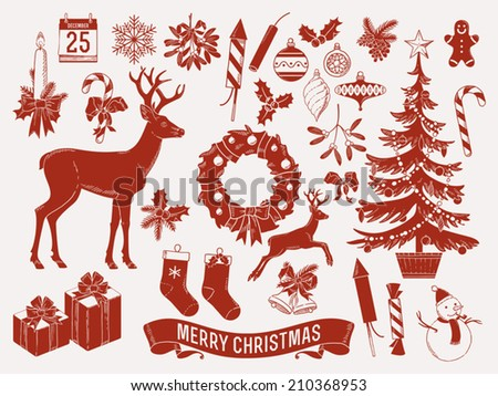 Large vector set of christmas themed items red on milk white silhouettes such as mistletoe, snow man, jingle bells, wreath, deer, candle, noel tree and more | Xmas scrapbook set - stock vector