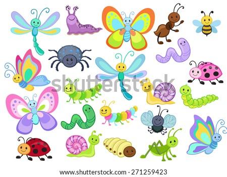 Large Vector Set of Cute Cartoon Bugs - stock vector
