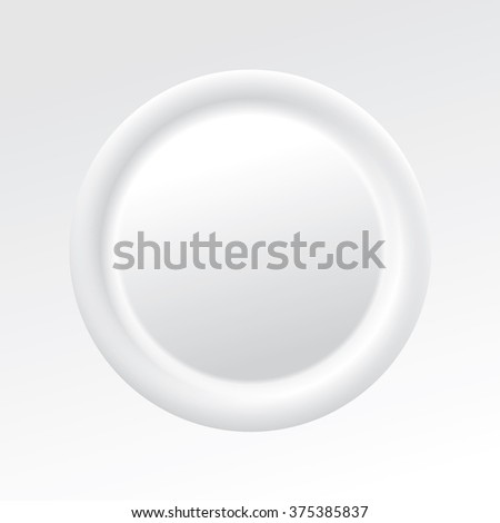 Large volume cool light grey color shot sale orb knob sign in modern art style design. Metallic glossy pin tag. Closeup macro view with space for text in glowing envelope cover bead center backdrop - stock vector