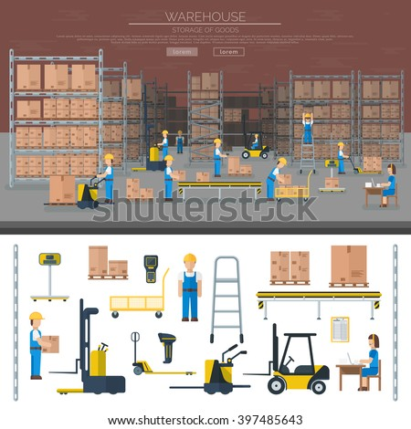 Large warehouse workers preparing goods for dispatch industry and warehouse cargo transport shipping package workers. Warehouse worker taking package in shelf logistic industry flat vector banners. - stock vector