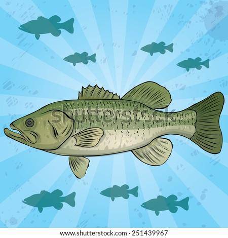 Largemouth Bass jn water background. Hand drawn vector illustration. - stock vector