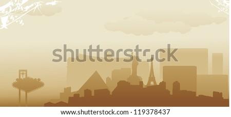 las vegas abstract skyline - stock vector