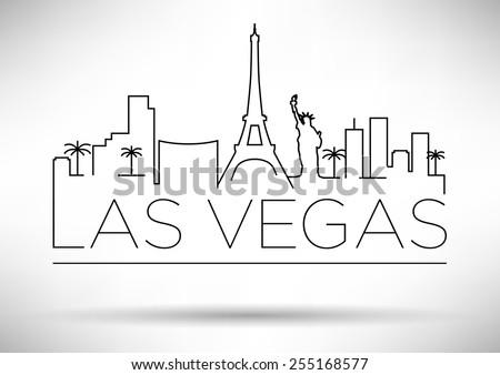 Las Vegas City Line Silhouette Typographic Design - stock vector