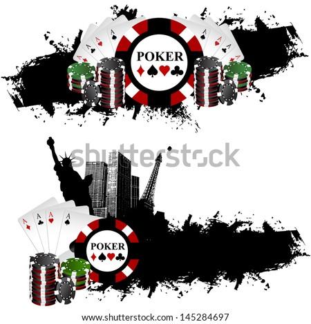 Las Vegas Poker Banners - stock vector