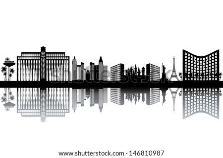 Las Vegas skyline - black and white vector illustration - stock vector