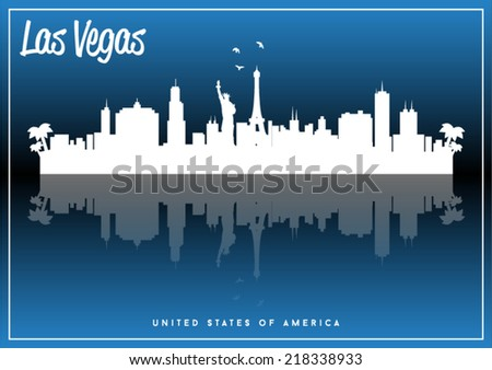 Las Vegas, USA skyline silhouette vector design on parliament blue background. - stock vector