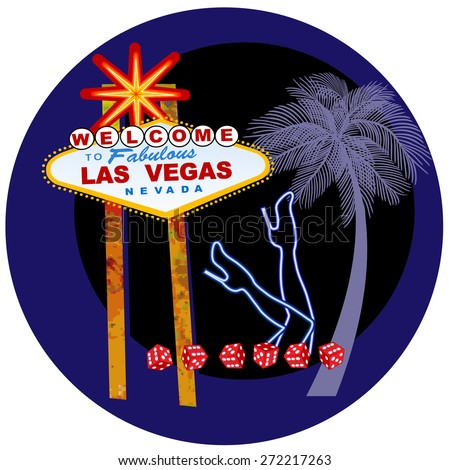 Las Vegas welcome sign with neon legs, dice and a palm tree - the sexy side of Vegas tasteful  - stock vector