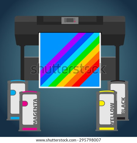Laser color plotter. White format paper for print. Cyan, magenta, yellow and black cartridge. Info graphics elements. Details for sign and labels. Equipment for office work. Wide format press. - stock vector