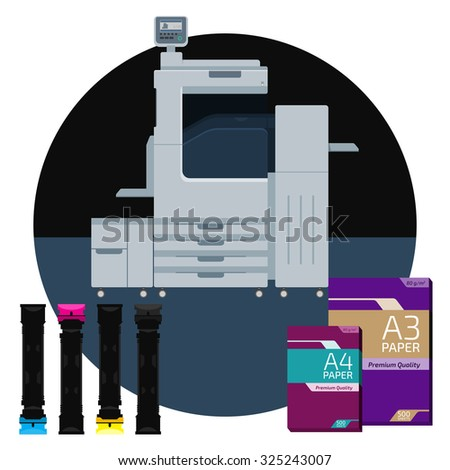Laser color printer. White format paper for print. Cyan, magenta, yellow and black cartridge. Info graphics elements. Details for sign and labels. Equipment for office work. Copy and scan machine. - stock vector