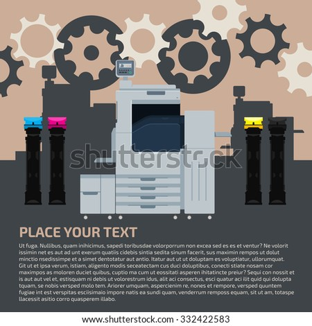 Laser copier with color cartridges on dark blue background. Color printer flat design. Vector technology background with  press machine and gears. - stock vector