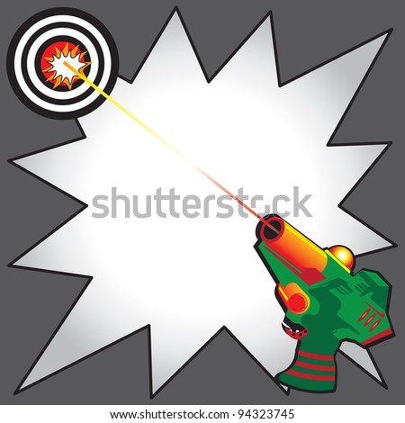 Laser Tag Party Invitation with colorful laser gun blasting a laser beam at a bulls eye target.  Comic Book inspired star burst to write your info - stock vector