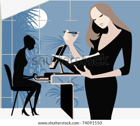 Late in the evening the two girls - manager complete urgent work - stock vector