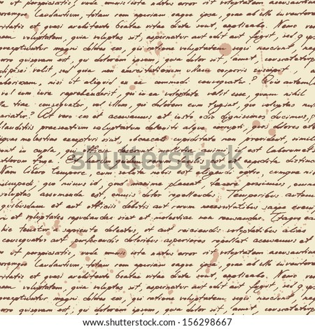 Latin calligraphic text. Vector seamless pattern. - stock vector