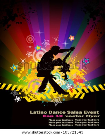 Latino salsa, bachata, merenghe dance flyer for night party or salsa exhibitions. - stock vector