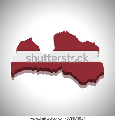 Latvia - 3D map and flag - stock vector