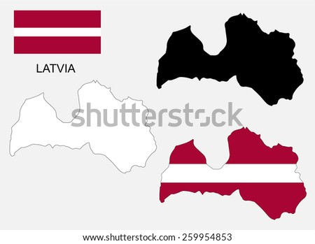 Latvia map and flag vector, Latvia map, Latvia flag - stock vector