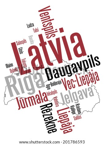 Latvia map and words cloud with larger cities - stock vector