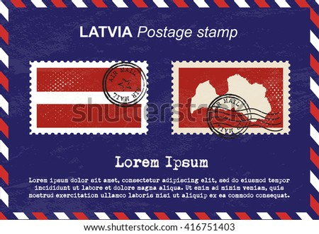 Latvia postage stamp, postage stamp, vintage stamp, air mail envelope. - stock vector