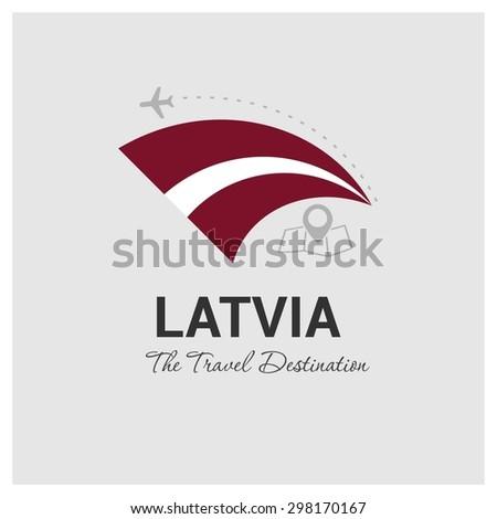 Latvia The Travel Destination logo - Vector travel company logo design - Country Flag Travel and Tourism concept t shirt graphics - vector illustration - stock vector