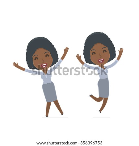 Laughing and Joyful Character Social Worker celebrates and jumps. for use in presentations, etc. - stock vector