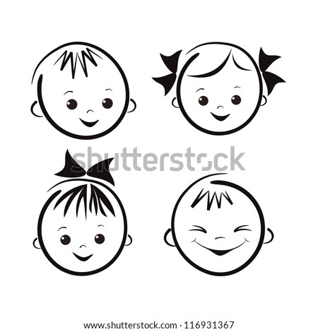 Laughing children's faces. Set. Vector  illustration. - stock vector