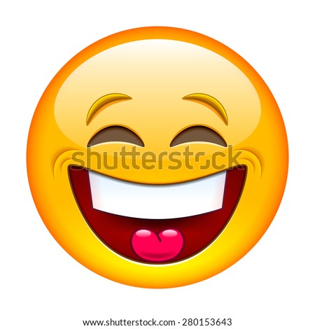 Laughing emoticon. Isolated vector illustration on white background - stock vector