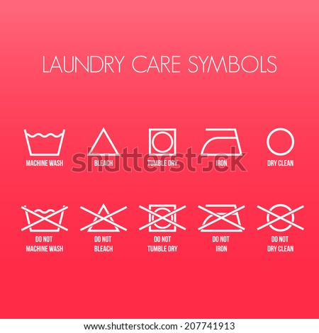 Laundry care symbols, Vector graphic - stock vector