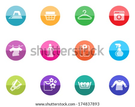 Laundry icons in color circles.  - stock vector