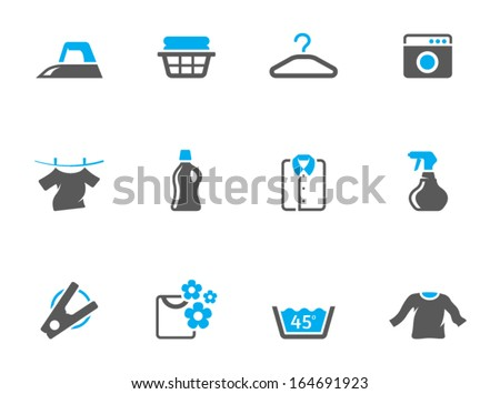 Laundry icons in duo tone colors - stock vector
