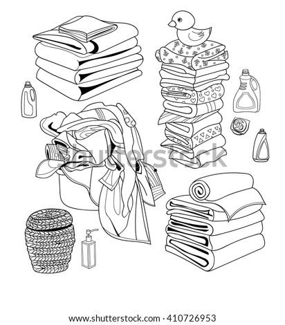 Laundry line set: basket of dirty laundry, pile of towels, clean baby clothes, shower gel, liquid soap, fabric softener, bleach, laundry basket. Sketch vector objects. - stock vector