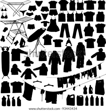 Laundry objects black and white silhouettes including hangers, detergent iron, ironing board, clothe line etc - stock vector