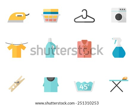 Laundry related icons in flat color style - stock vector
