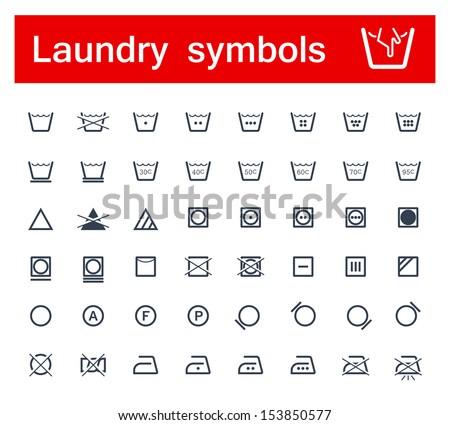 Laundry symbols - stock vector