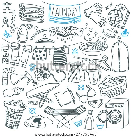 Laundry themed doodle set. Various equipment and  facilities for washing, drying and ironing clothes. Freehand vector sketches isolated over white background. - stock vector