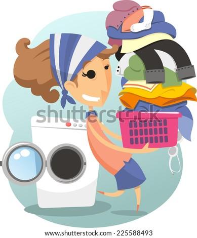 Laundry Woman domestic life laundromat washing clothes, vector illustration cartoon. - stock vector