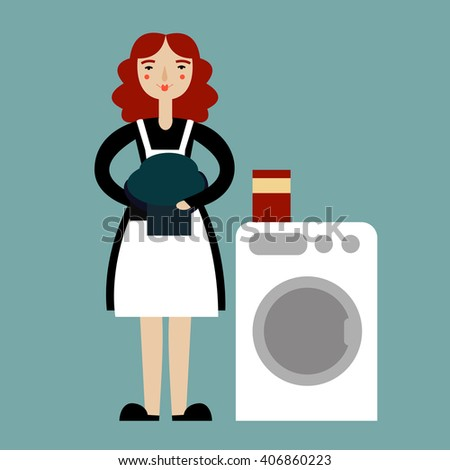 Laundry woman illustration.  Cartoon housewife vector illustration. Isolated on blue background. - stock vector