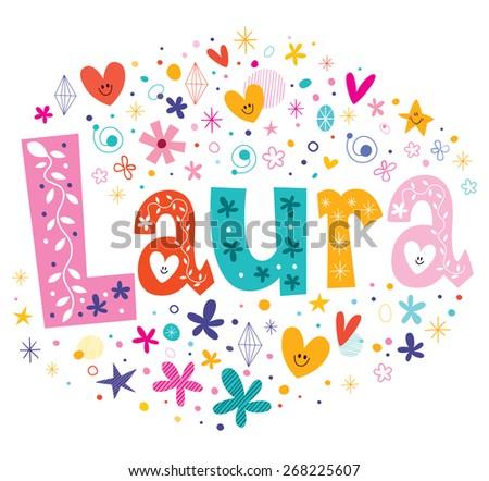 Laura girls name decorative lettering type design - stock vector