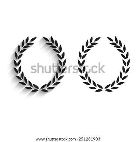 Laurel Wreath - black vector icons - stock vector