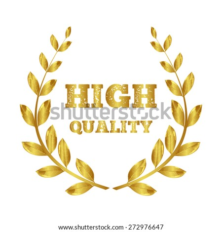 Laurel wreath gold. high quality. Symbol of victory and awards - stock vector