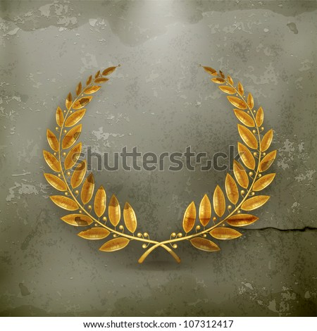 Laurel Wreath Gold, old-style vector - stock vector