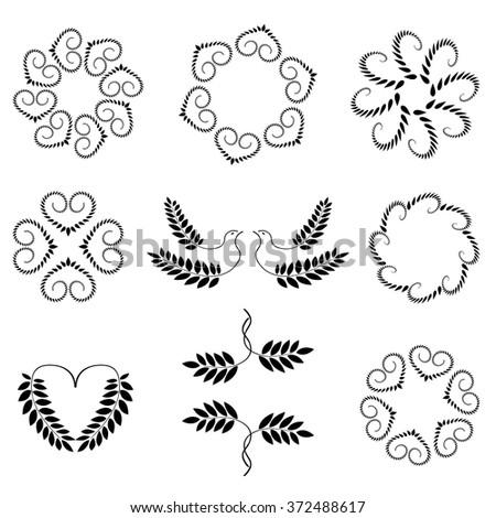 Laurel wreath, heart tattoo set. Wheats, swirl, circular view signs. Stylized unusual ornament. Valentine day, birthday, defense, belief, glory, love symbol. Vector - stock vector