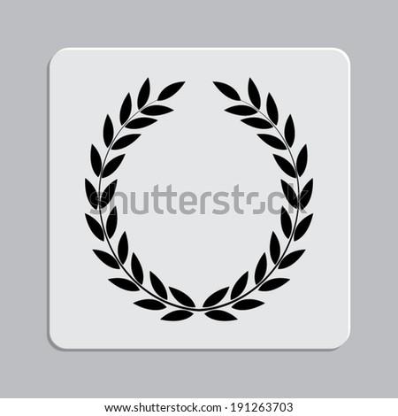 Laurel Wreath on a grey flat button - stock vector